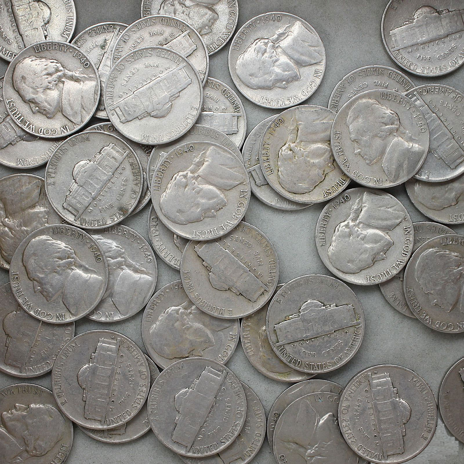 1940 S Jefferson Nickel Roll 40 Circulated US Coins