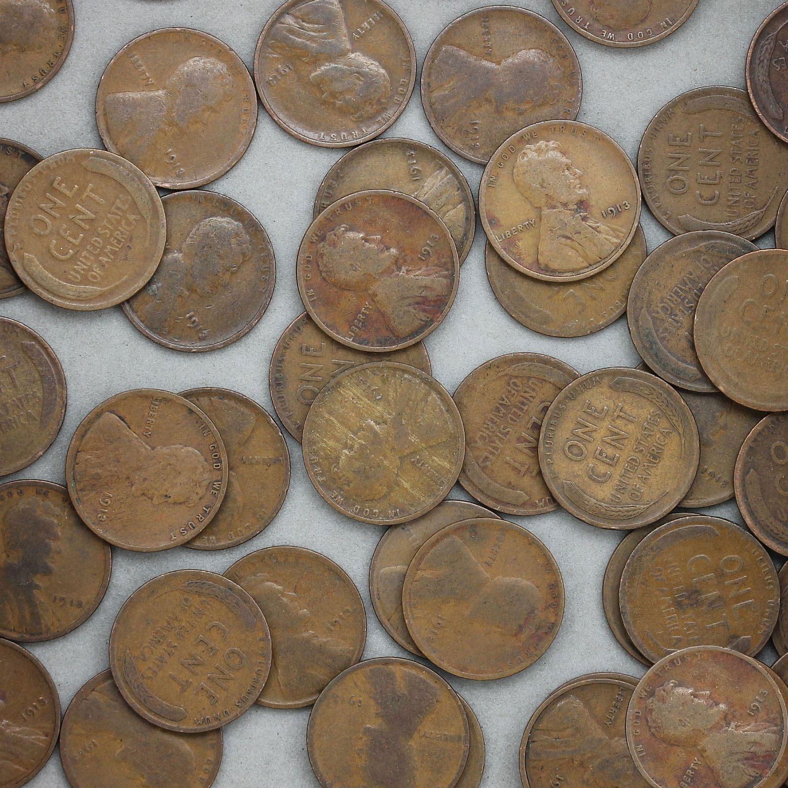 1913 Lincoln Wheat Cent Roll 50 Circulated Pennies US Coins