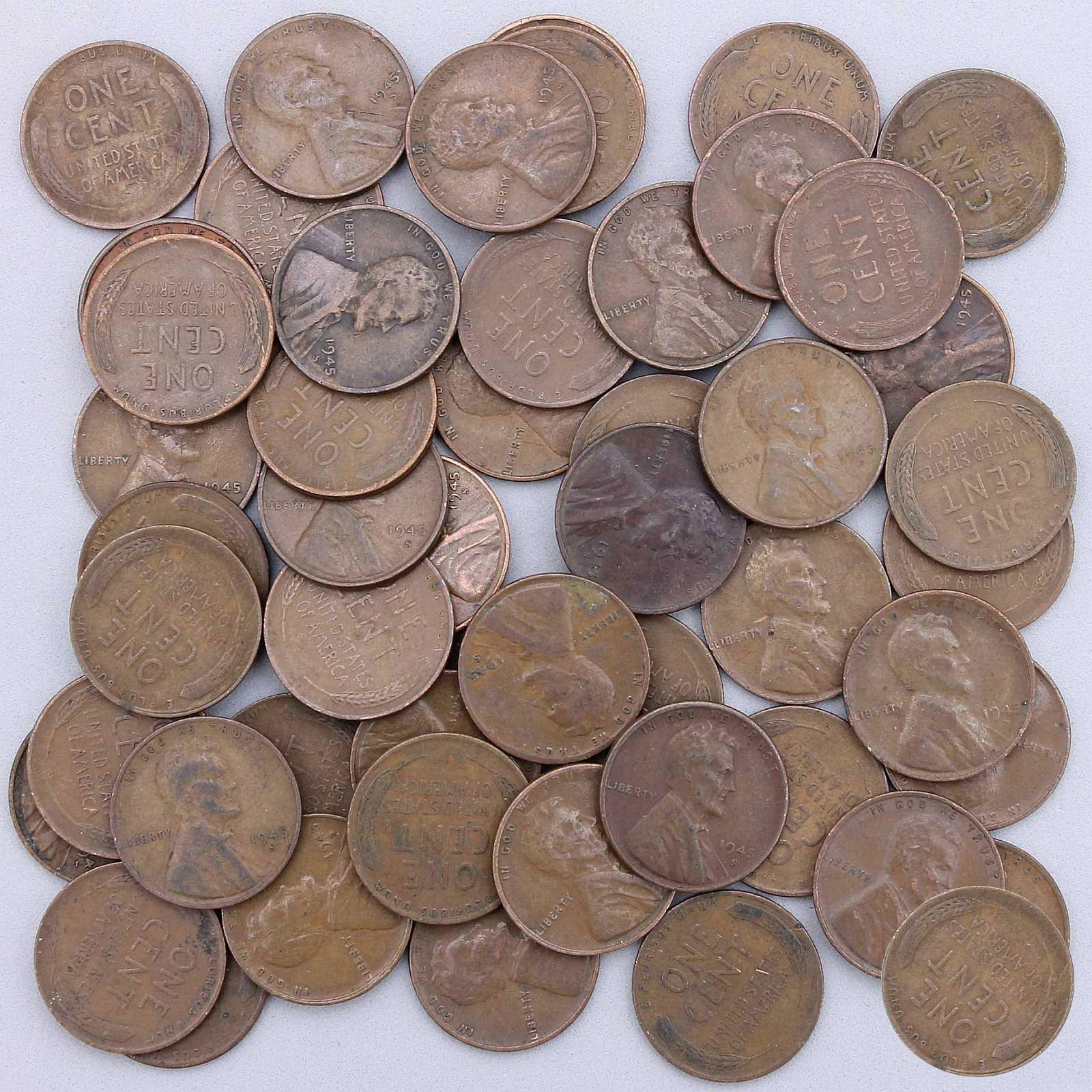 1945 D Lincoln Wheat Cent Penny Roll    50 Circulated Pennies