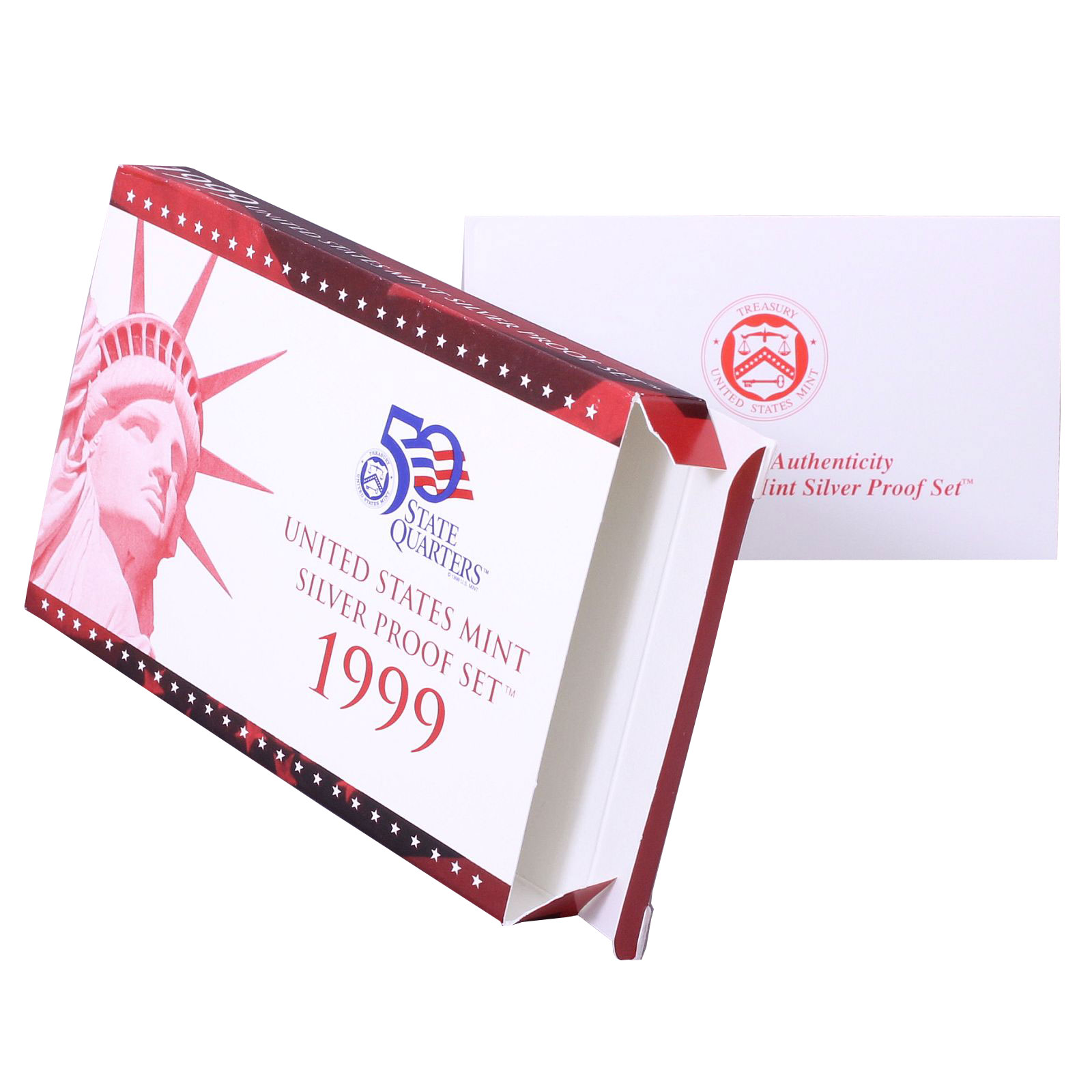 Empty-Packaging-Replacement-Silver-Proof-Set-Red-Box-amp-COA-No-Coins-1999