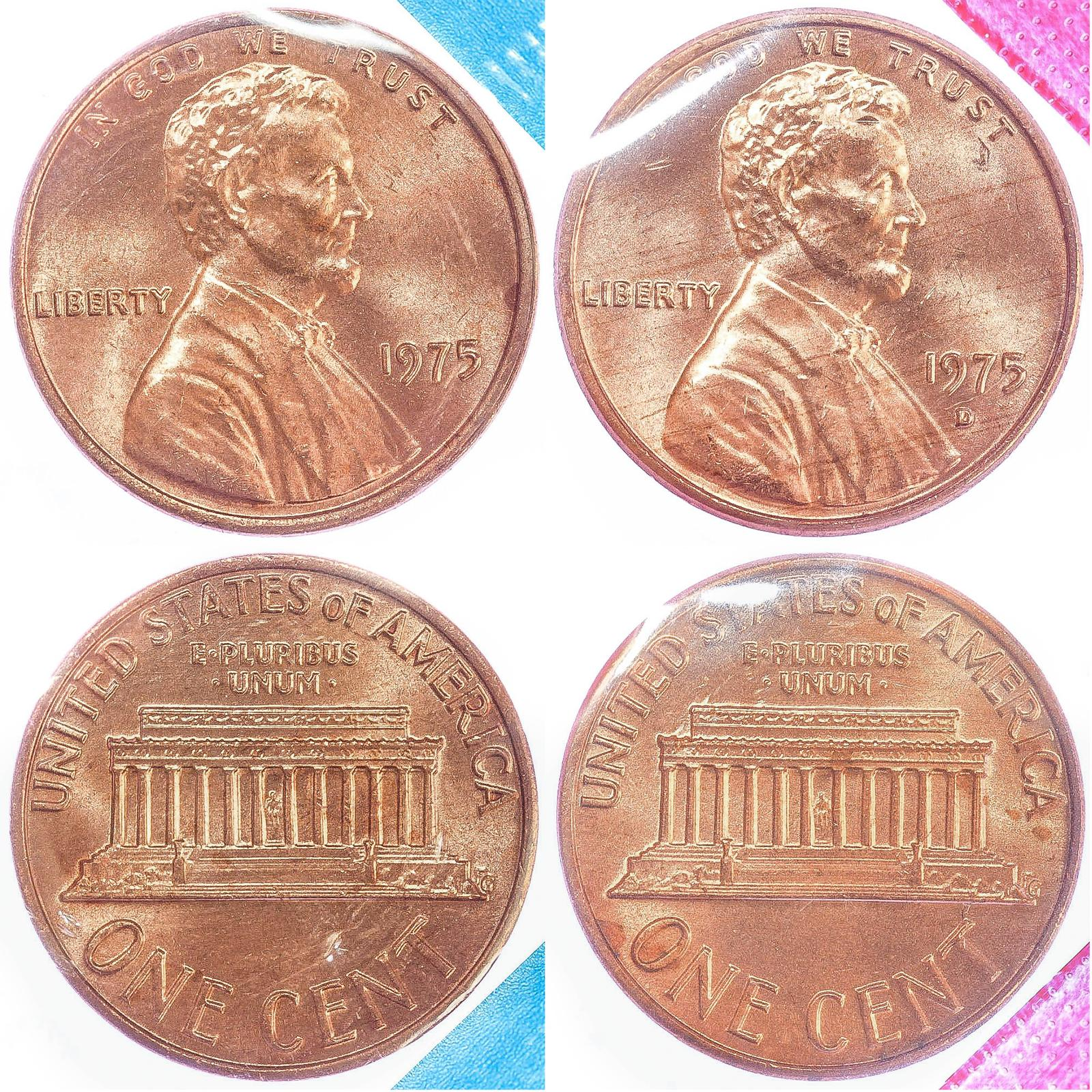 1975 P D Lincoln Memorial Cent BU US Mint Cello 2 Coin Penny Set