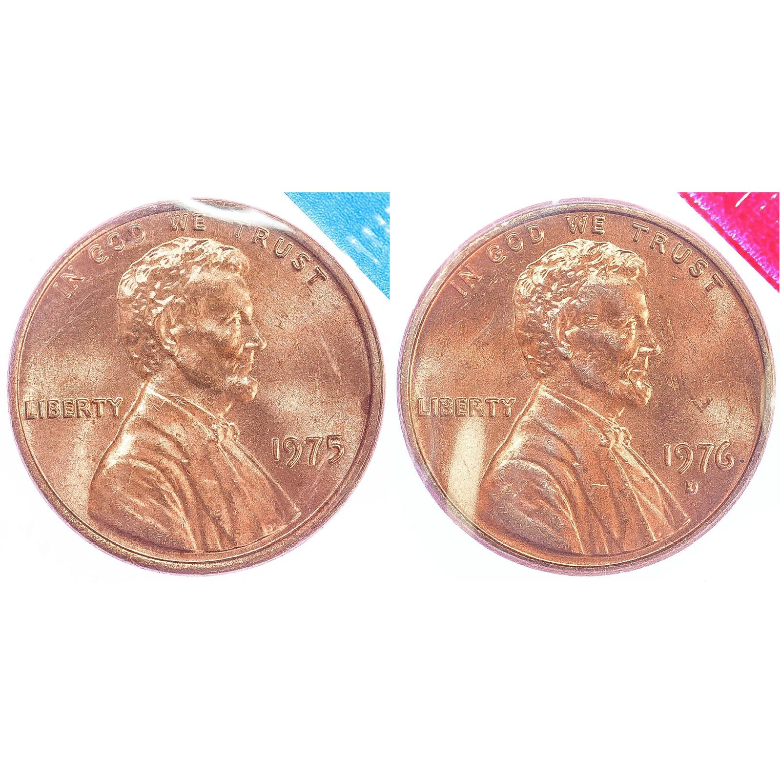 1975 P D Lincoln Memorial Cent BU US Mint Cello 2 Coin Penny Set 2