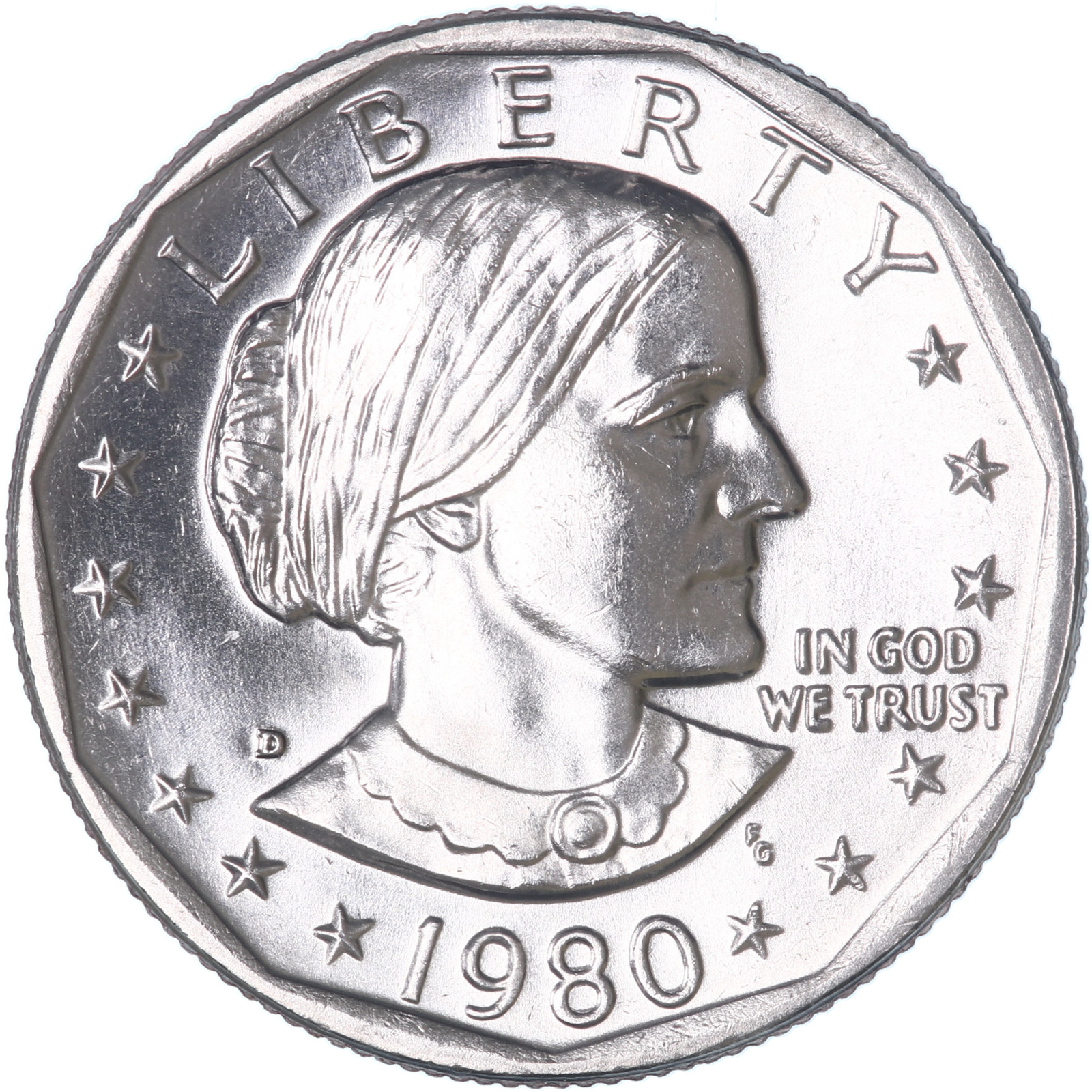 "1980 D Susan B Anthony Dollar US Mint Coin /""Brilliant Uncirculated/"" SBA"